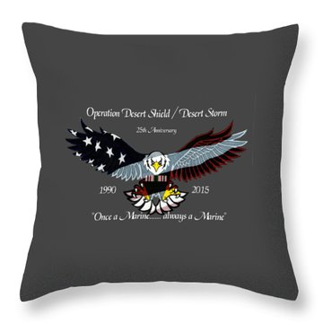 Once A Marine Throw Pillow by Bill Richards