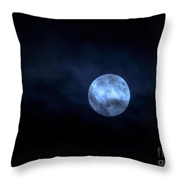 Throw Pillow featuring the photograph Once In A Blue Moon by Sandy Molinaro