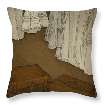 Throw Pillow featuring the drawing Once by Meg Shearer