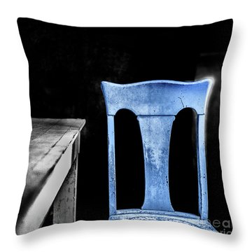 Throw Pillow featuring the photograph One Blue Bodie Chair by Craig J Satterlee