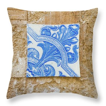 One Blue Vintage Tile  Throw Pillow