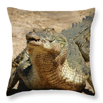 One Crazy Saltwater Crocodile Throw Pillow