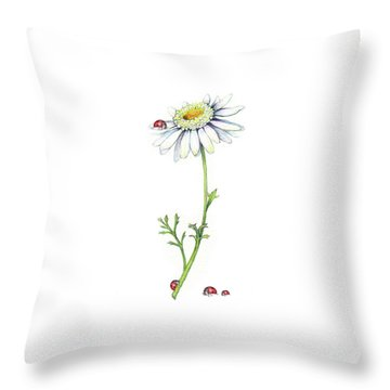 Throw Pillow featuring the painting One Daisy And Four Ladybugs by Heidi Kriel
