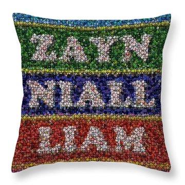 One Direction Names Bottle Cap Mosaic Throw Pillow by Paul Van Scott