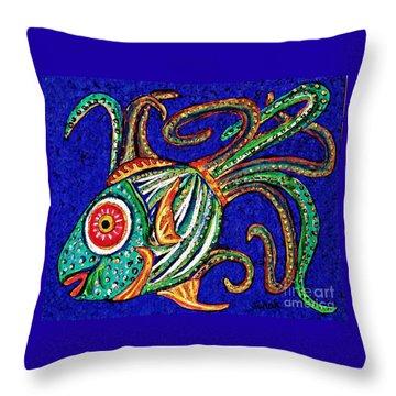 One Fish Throw Pillow by Sarah Loft