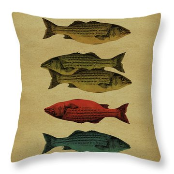Throw Pillow featuring the drawing One Fish, Two Fish . . . by Meg Shearer