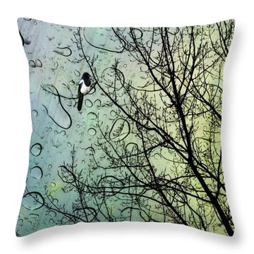 One For Sorrow #nurseryrhyme Throw Pillow