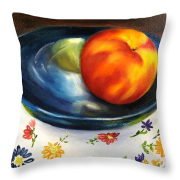 One Good Peach Throw Pillow by Carol Sweetwood