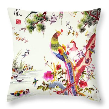 One Hundred Birds With A Phoenix, Canton, Republic Period Throw Pillow