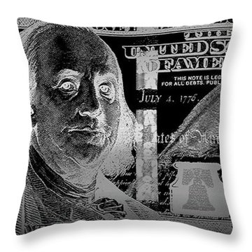 One Hundred Us Dollar Bill - $100 Usd In Silver On Black Throw Pillow