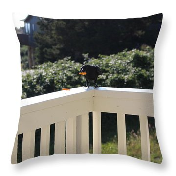 Throw Pillow featuring the photograph One In The Mouth Is Worth by Marie Neder