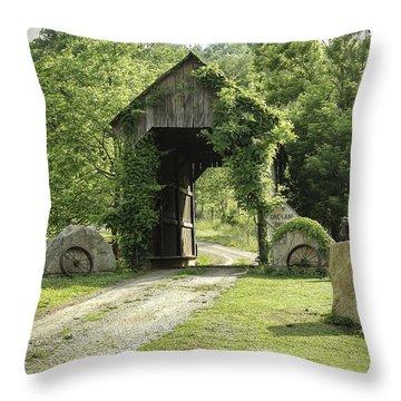 One Lane Covered Bridge Throw Pillow