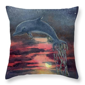 One Last Jump Throw Pillow by Randy Sprout