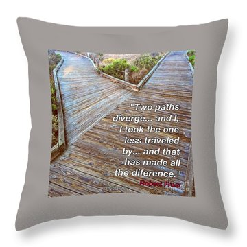 One Less Traveled Throw Pillow