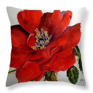 One Lone Wild Rose Throw Pillow