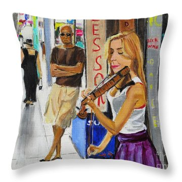 Throw Pillow featuring the painting One Man Show by Judy Kay