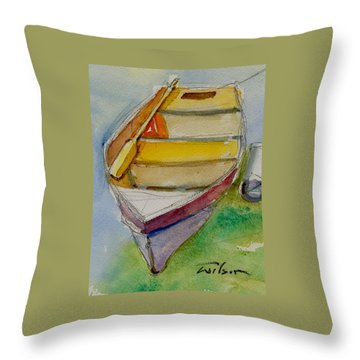 One Oar Gone Throw Pillow by Ron Wilson