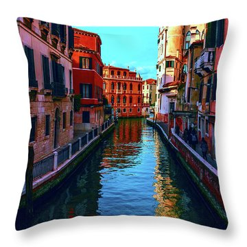 one of the many beautiful old Venetian canals on a Sunny summer day Throw Pillow