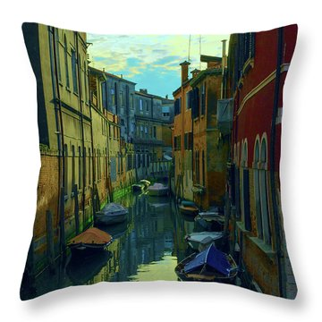 one of the many Venetian canals at the end of a Sunny summer day Throw Pillow