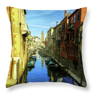 one of the many Venetian canals on a Sunny summer day Throw Pillow