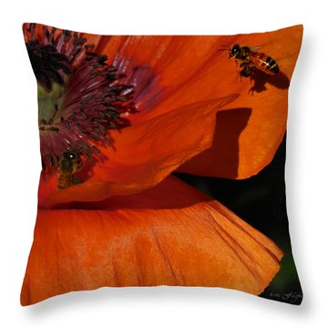One Poppy And A  Bee Throw Pillow