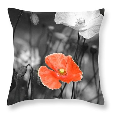 One Red Poppy Throw Pillow by Bonnie Bruno