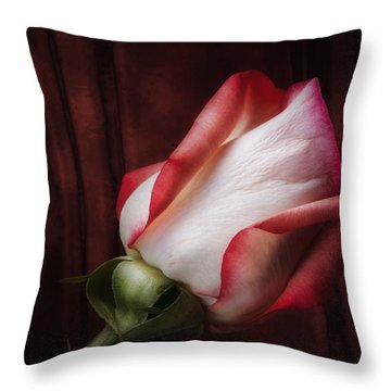 One Red Rose Still Life Throw Pillow