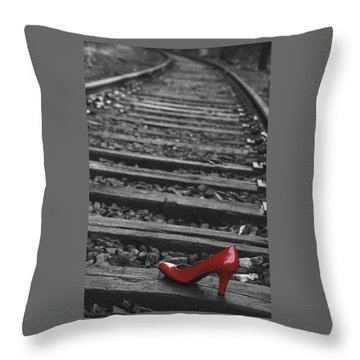 Throw Pillow featuring the photograph One Red Shoe by Patrice Zinck