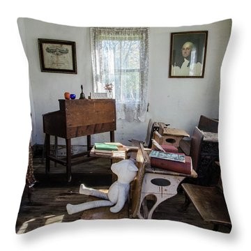 Throw Pillow featuring the photograph One Room Schoolhouse by Ann Bridges