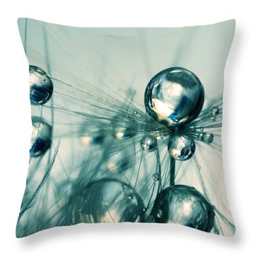 One Seed With Blue Drops Throw Pillow by Sharon Johnstone