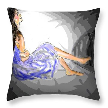 Throw Pillow featuring the drawing One Sided Dreams by Desline Vitto