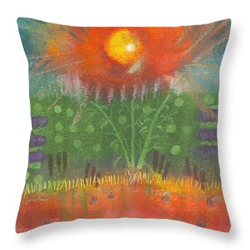 Throw Pillow featuring the painting One Sunny Day by Angela L Walker