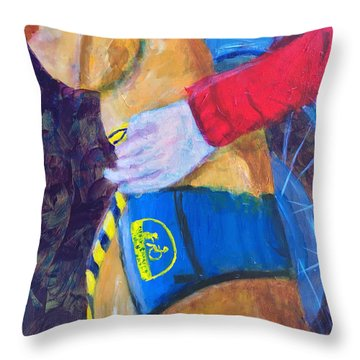 Throw Pillow featuring the painting One Team Two Heroes 3 by Donald J Ryker III