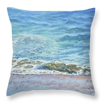 Throw Pillow featuring the painting One Wave by Martin Davey
