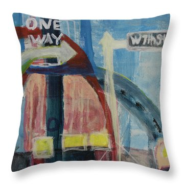 Throw Pillow featuring the painting One Way To 7th Street by Susan Stone
