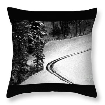 Throw Pillow featuring the photograph One Way - Winter In Switzerland by Susanne Van Hulst
