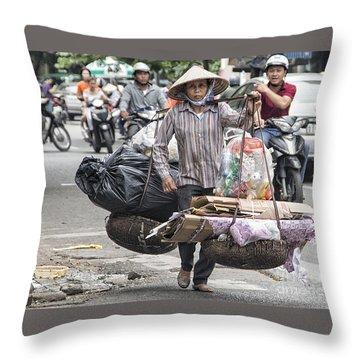 One Woman Street Life Hanoi Throw Pillow
