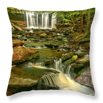 Oneida Falls Through The Forest Throw Pillow