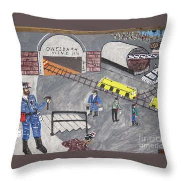 Throw Pillow featuring the painting Onieda Coal Mine by Jeffrey Koss