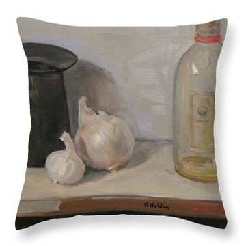 Onion And Garlic,tin Can, And Painting Medium Bottle Throw Pillow