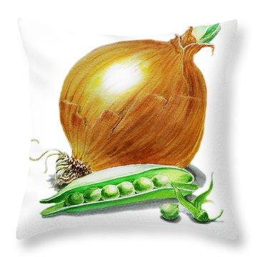 Onion And Peas Throw Pillow by Irina Sztukowski