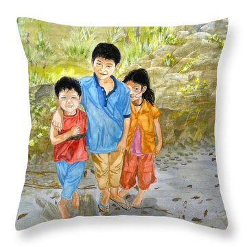 Throw Pillow featuring the painting Onion Farm Children Bali Indonesia by Melly Terpening