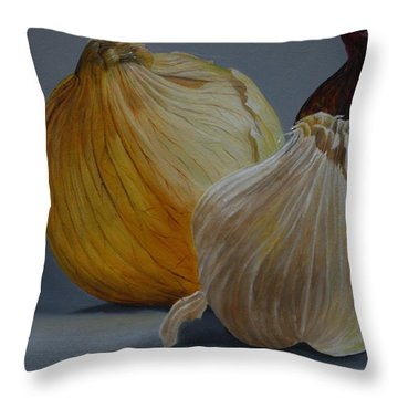Onions And Garlic Throw Pillow