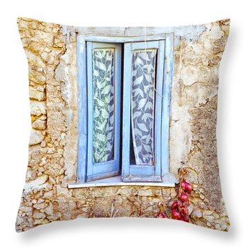 Onions And Garlic On Window Throw Pillow by Silvia Ganora