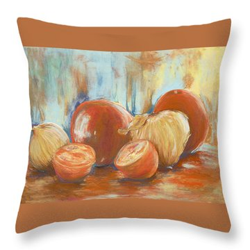 Throw Pillow featuring the painting Onions And Tomatoes by AnnaJo Vahle