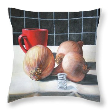 Onions Throw Pillow by Tim Johnson