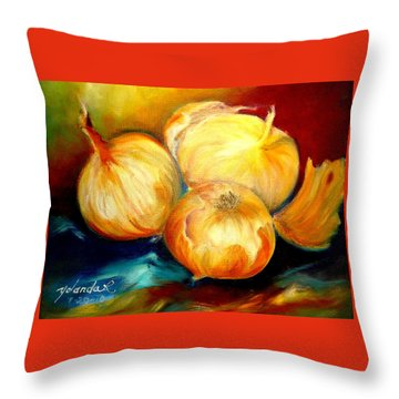 Throw Pillow featuring the painting Onions by Yolanda Rodriguez