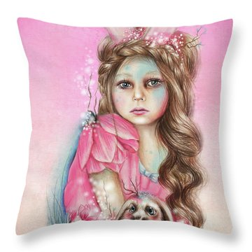 Only Friend In The World - Bunny Throw Pillow by Sheena Pike