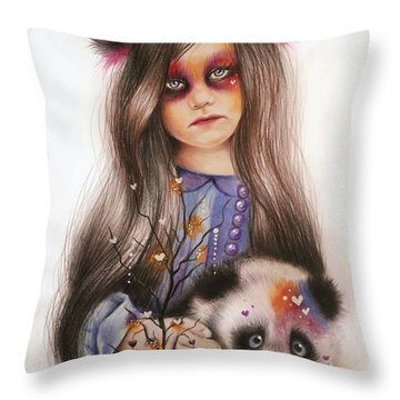Only Friend In The World - Panda Precious Throw Pillow by Sheena Pike
