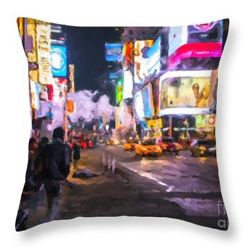 Throw Pillow featuring the painting Only Go Out At Night ... by Chris Armytage